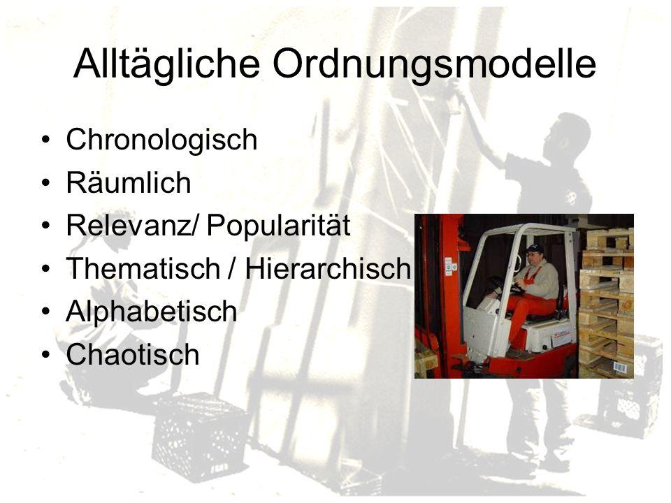 Alltägliche Ordnungsmodelle Chronologisch Räumlich Relevanz/ Popularität Thematisch / Hierarchisch Alphabetisch Chaotisch