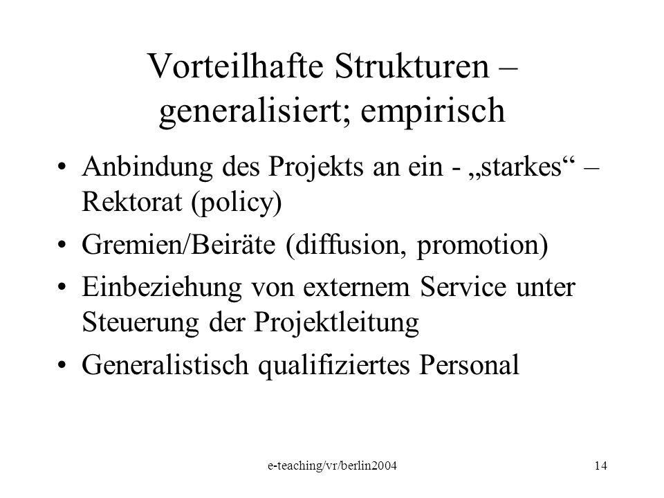 e-teaching/vr/berlin200414 Vorteilhafte Strukturen – generalisiert; empirisch Anbindung des Projekts an ein - starkes – Rektorat (policy) Gremien/Beir