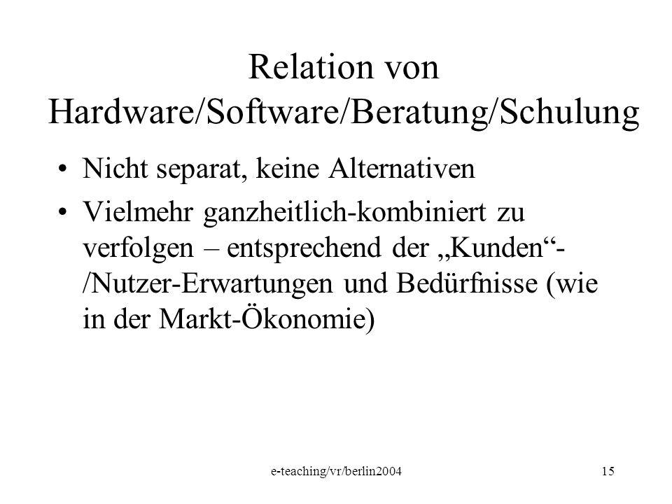 e-teaching/vr/berlin200415 Relation von Hardware/Software/Beratung/Schulung Nicht separat, keine Alternativen Vielmehr ganzheitlich-kombiniert zu verf