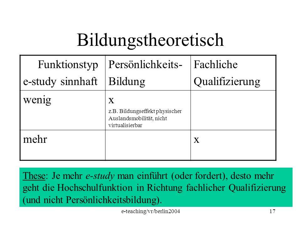 e-teaching/vr/berlin200417 Bildungstheoretisch Funktionstyp e-study sinnhaft Persönlichkeits- Bildung Fachliche Qualifizierung wenigx z.B. Bildungseff