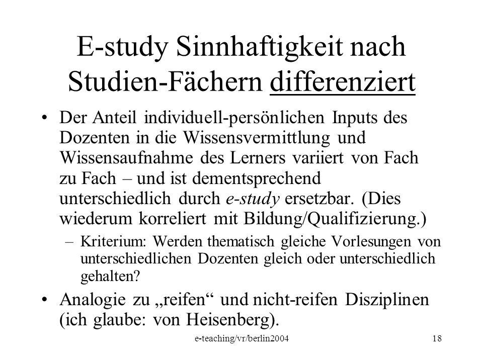 e-teaching/vr/berlin200418 E-study Sinnhaftigkeit nach Studien-Fächern differenziert Der Anteil individuell-persönlichen Inputs des Dozenten in die Wi