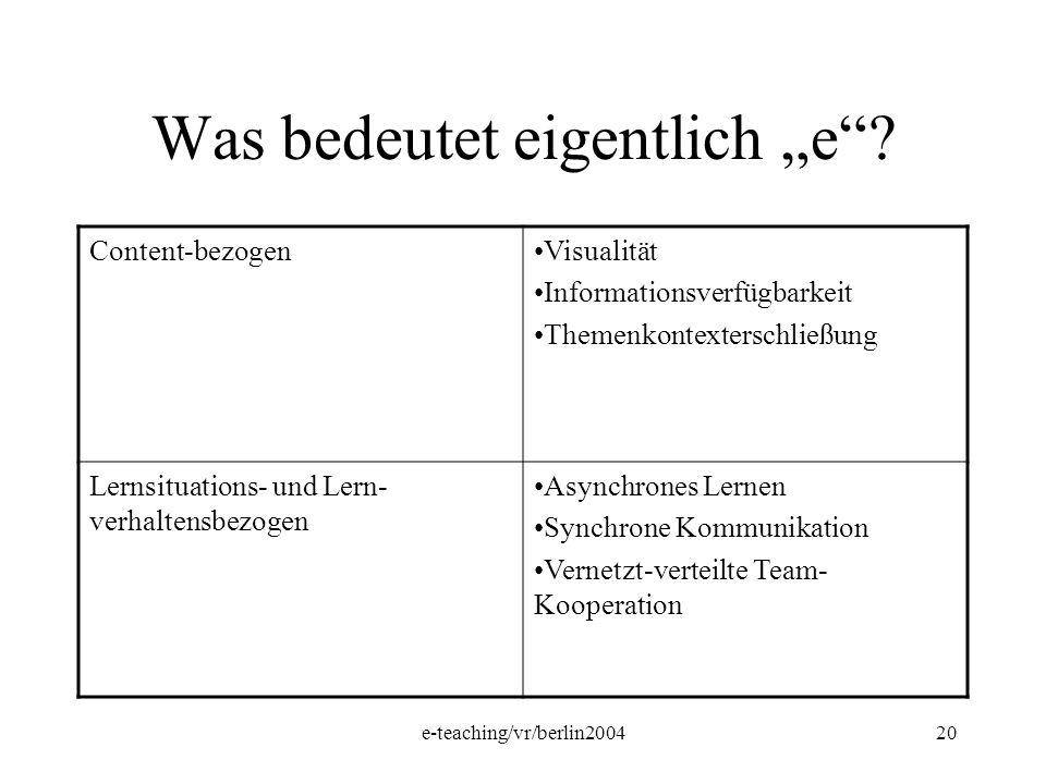 e-teaching/vr/berlin200420 Was bedeutet eigentlich e? Content-bezogenVisualität Informationsverfügbarkeit Themenkontexterschließung Lernsituations- un