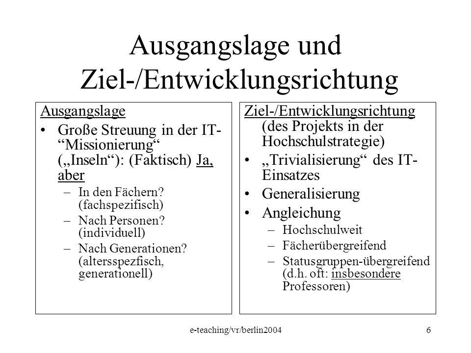e-teaching/vr/berlin20046 Ausgangslage und Ziel-/Entwicklungsrichtung Ausgangslage Große Streuung in der IT- Missionierung (Inseln): (Faktisch) Ja, ab