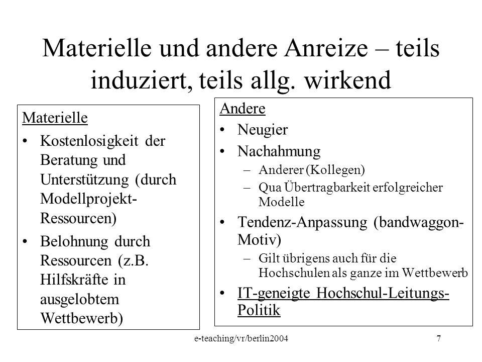 e-teaching/vr/berlin20047 Materielle und andere Anreize – teils induziert, teils allg. wirkend Materielle Kostenlosigkeit der Beratung und Unterstützu