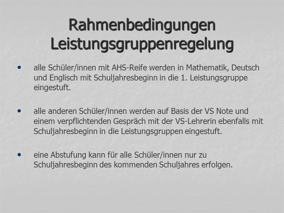 Rahmenbedingungen Leistungsgruppenregelung alle Schüler/innen mit AHS-Reife werden in Mathematik, Deutsch und Englisch mit Schuljahresbeginn in die 1.