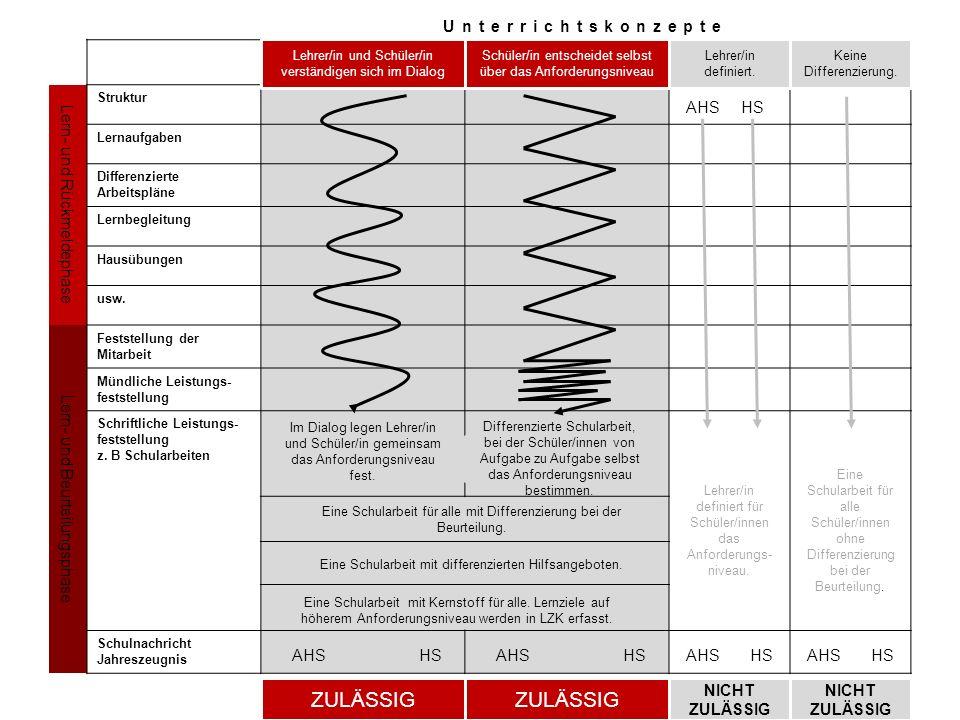 Unterrichtskonzepte Lern- und Rückmeldephase Struktur Lernaufgaben Differenzierte Arbeitspläne Lernbegleitung Hausübungen usw. Lern- und Beurteilungsp