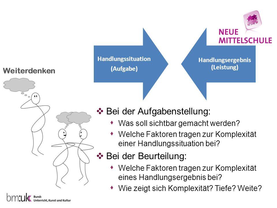 Weiterdenken Bei der Aufgabenstellung: Was soll sichtbar gemacht werden? Welche Faktoren tragen zur Komplexität einer Handlungssituation bei? Bei der