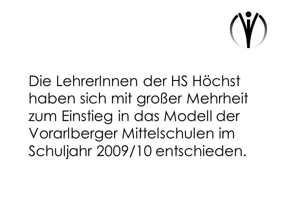 Die LehrerInnen der HS Höchst haben sich mit großer Mehrheit zum Einstieg in das Modell der Vorarlberger Mittelschulen im Schuljahr 2009/10 entschiede