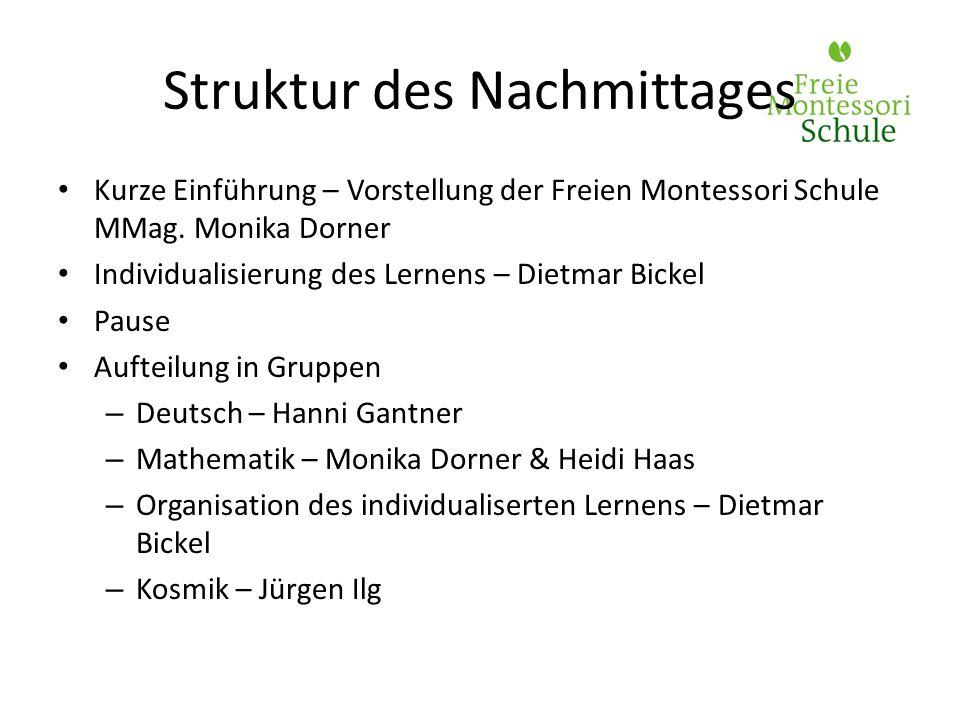 Kurze Einführung – Vorstellung der Freien Montessori Schule MMag. Monika Dorner Individualisierung des Lernens – Dietmar Bickel Pause Aufteilung in Gr