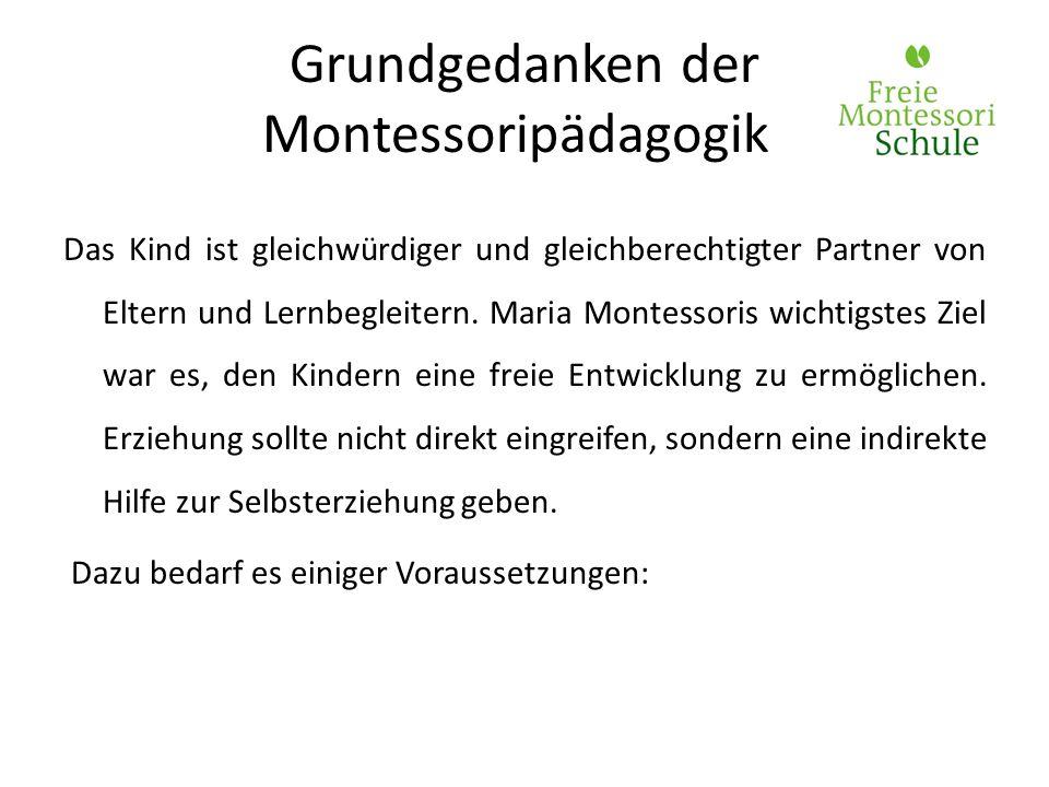 Grundgedanken der Montessoripädagogik Das Kind ist gleichwürdiger und gleichberechtigter Partner von Eltern und Lernbegleitern. Maria Montessoris wich