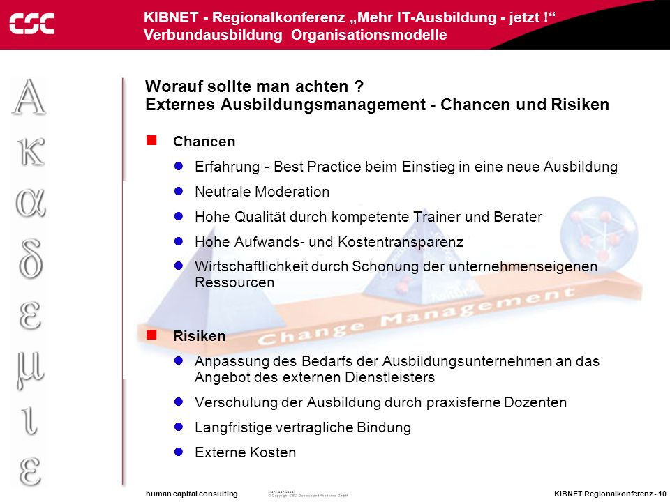 human capital consulting KIBNET Regionalkonferenz - 9 Archivschlüssel KIBNET - Regionalkonferenz Mehr IT-Ausbildung - jetzt ! Verbundausbildung Organi