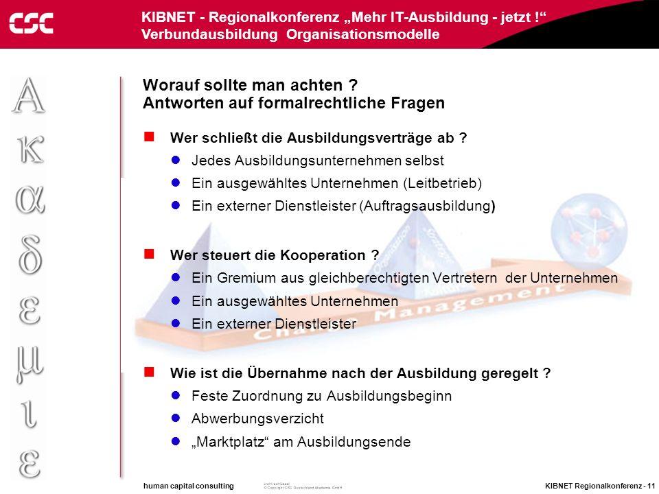 human capital consulting KIBNET Regionalkonferenz - 10 Archivschlüssel KIBNET - Regionalkonferenz Mehr IT-Ausbildung - jetzt ! Verbundausbildung Organ