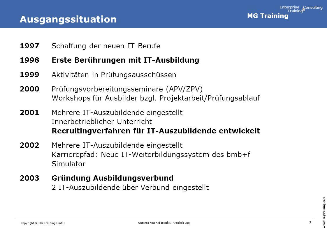 MG Training Enterprise Training Consulting & www.mgtraining.com 5 Copyright © MG Training GmbH Unternehmensbereich: IT-Ausbildung Ausgangssituation 19
