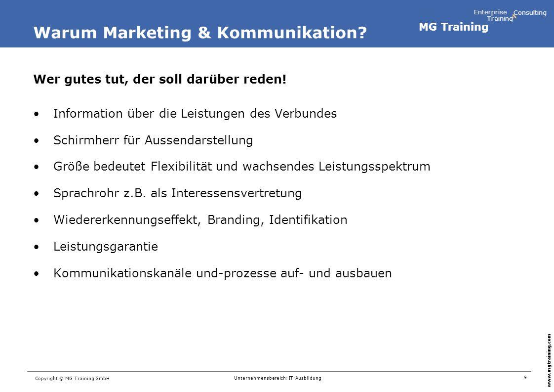MG Training Enterprise Training Consulting & www.mgtraining.com 10 Copyright © MG Training GmbH Unternehmensbereich: IT-Ausbildung Best-Practice-Transfer: TIZ-Ausbildungsverbund