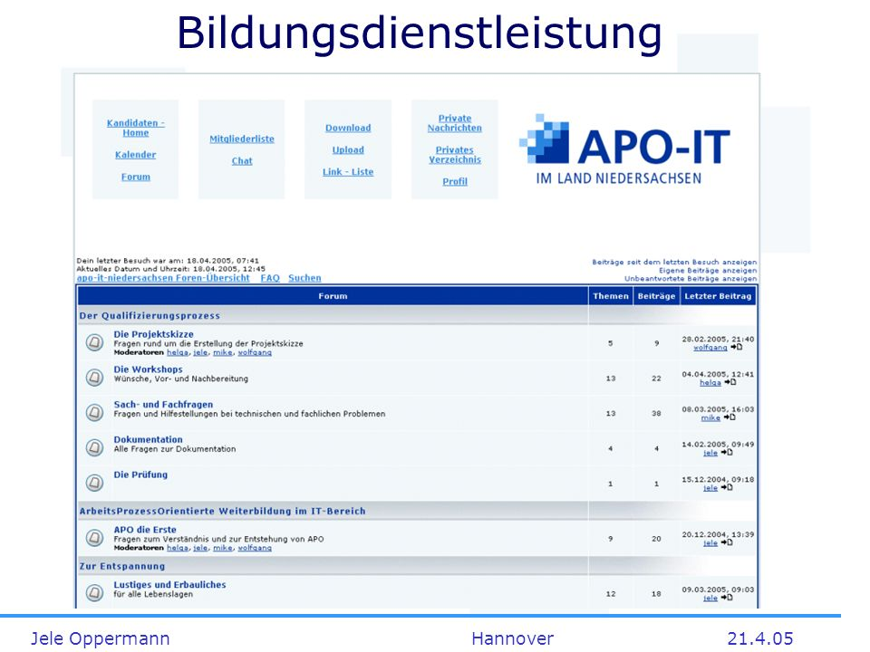 Jele Oppermann Hannover21.4.05 Bildungsdienstleistung