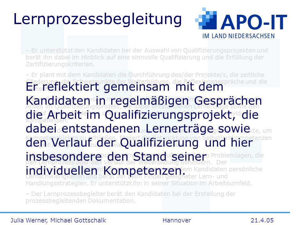 Julia Werner, Michael Gottschalk Hannover21.4.05 Lernprozessbegleitung – Er unterstützt den Kandidaten bei der Auswahl von Qualifizierungsprojekten un