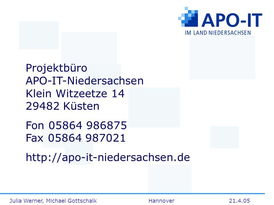 Julia Werner, Michael Gottschalk Hannover21.4.05 Projektbüro APO-IT-Niedersachsen Klein Witzeetze 14 29482 Küsten Fon 05864 986875 Fax 05864 987021 ht