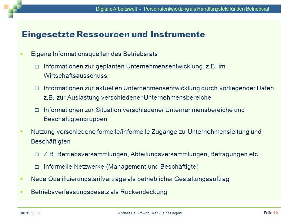 Digitale Arbeitswelt - Personalentwicklung als Handlungsfeld für den Betriebsrat Andrea Baukrowitz, Karl-Heinz Hageni Folie 10 06.12.2006 Eingesetzte