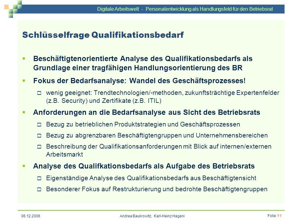 Digitale Arbeitswelt - Personalentwicklung als Handlungsfeld für den Betriebsrat Andrea Baukrowitz, Karl-Heinz Hageni Folie 11 06.12.2006 Schlüsselfra
