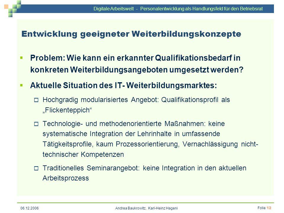 Digitale Arbeitswelt - Personalentwicklung als Handlungsfeld für den Betriebsrat Andrea Baukrowitz, Karl-Heinz Hageni Folie 12 06.12.2006 Entwicklung