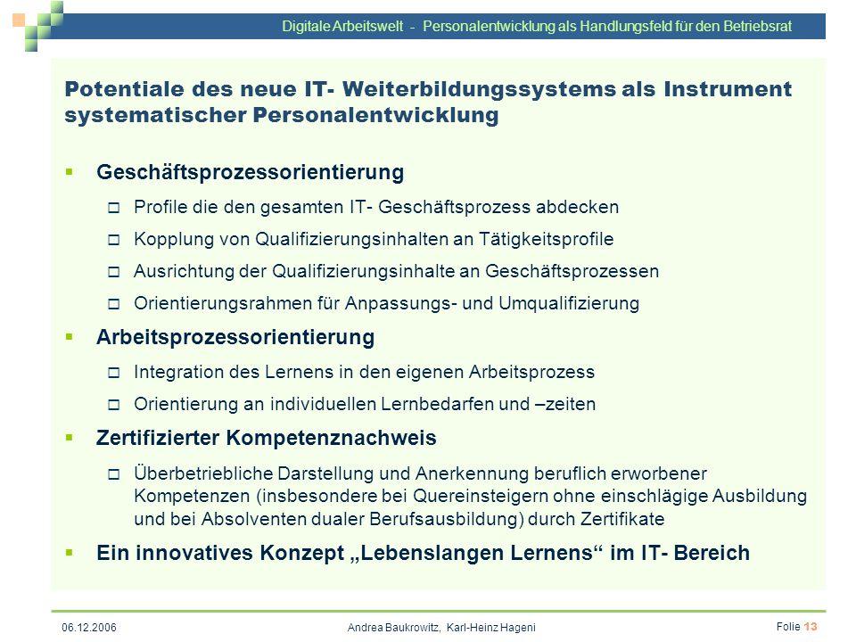 Digitale Arbeitswelt - Personalentwicklung als Handlungsfeld für den Betriebsrat Andrea Baukrowitz, Karl-Heinz Hageni Folie 13 06.12.2006 Potentiale d