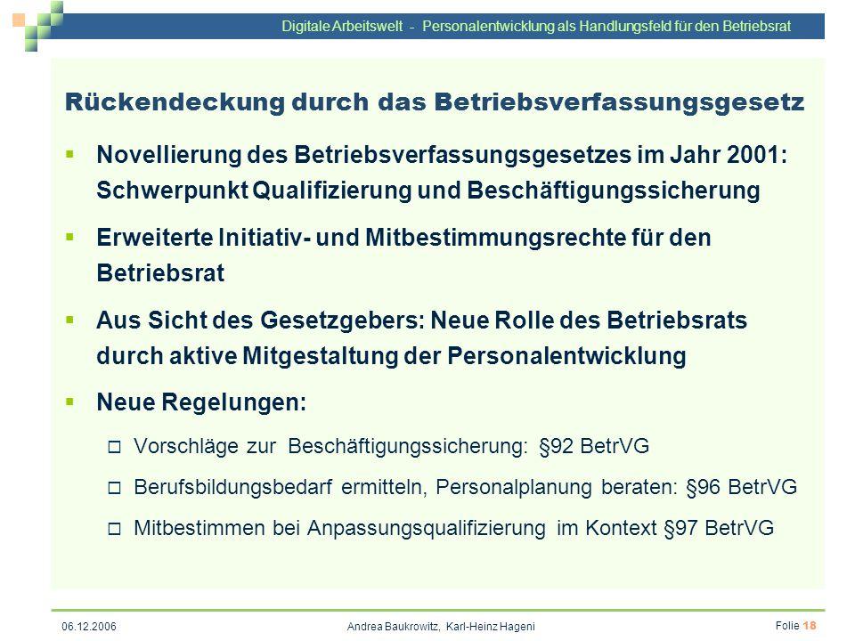 Digitale Arbeitswelt - Personalentwicklung als Handlungsfeld für den Betriebsrat Andrea Baukrowitz, Karl-Heinz Hageni Folie 18 06.12.2006 Rückendeckun
