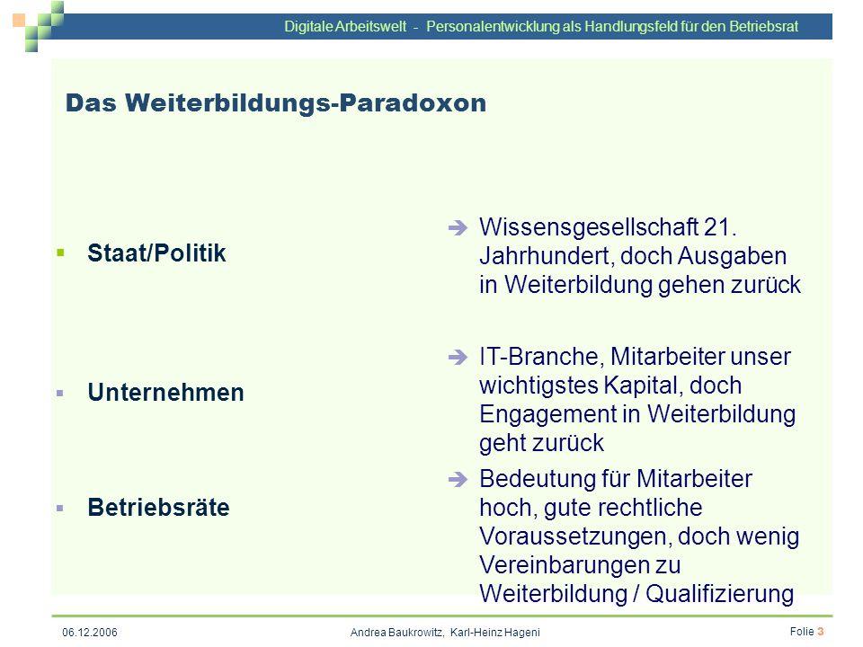 Digitale Arbeitswelt - Personalentwicklung als Handlungsfeld für den Betriebsrat Andrea Baukrowitz, Karl-Heinz Hageni Folie 3 06.12.2006 Das Weiterbil