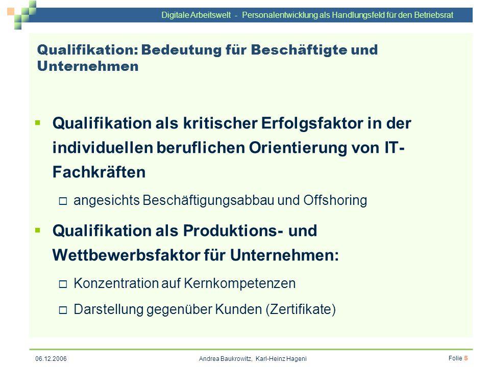 Digitale Arbeitswelt - Personalentwicklung als Handlungsfeld für den Betriebsrat Andrea Baukrowitz, Karl-Heinz Hageni Folie 5 06.12.2006 Qualifikation