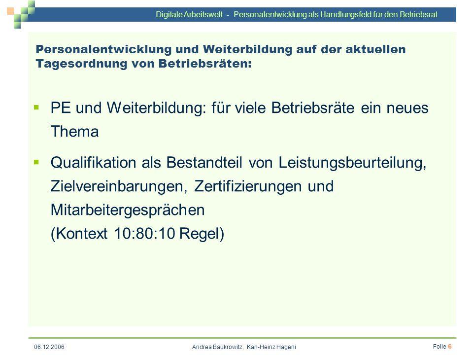 Digitale Arbeitswelt - Personalentwicklung als Handlungsfeld für den Betriebsrat Andrea Baukrowitz, Karl-Heinz Hageni Folie 6 06.12.2006 Personalentwi