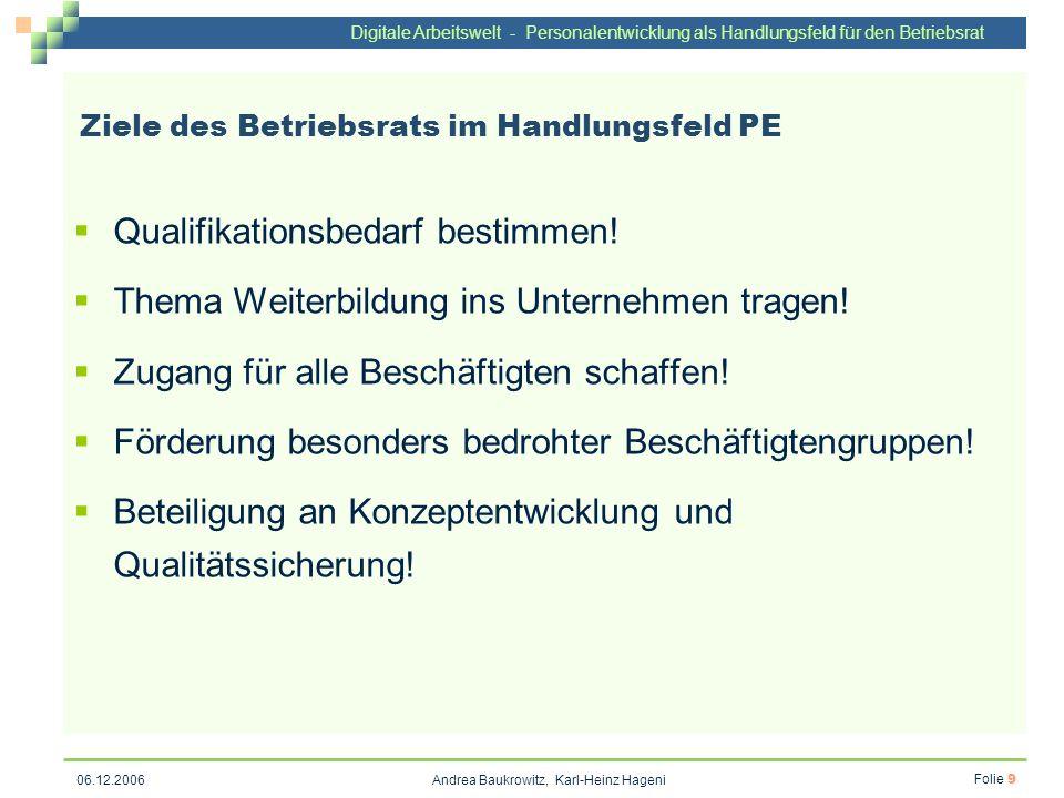 Digitale Arbeitswelt - Personalentwicklung als Handlungsfeld für den Betriebsrat Andrea Baukrowitz, Karl-Heinz Hageni Folie 9 06.12.2006 Ziele des Bet