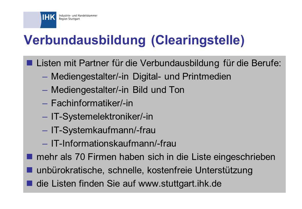 Verbundausbildung (Clearingstelle) Listen mit Partner für die Verbundausbildung für die Berufe: –Mediengestalter/-in Digital- und Printmedien –Medieng