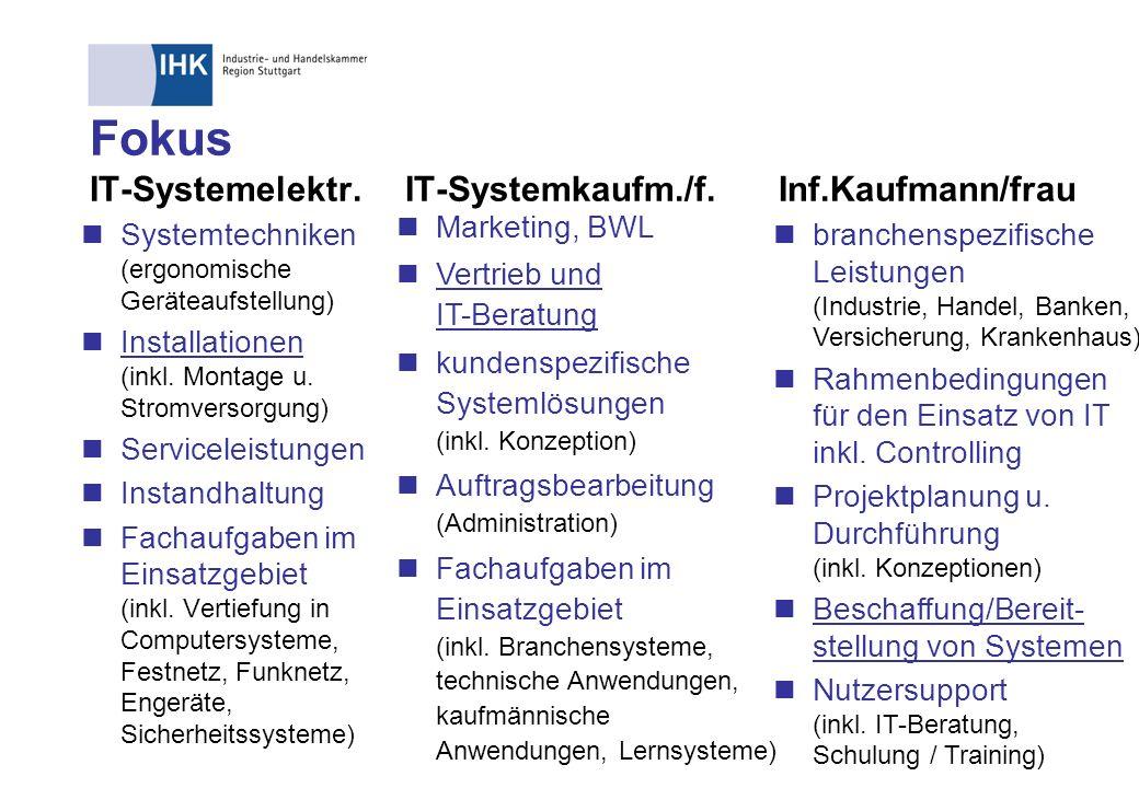 Fokus IT-Systemelektr.IT-Systemkaufm./f. Inf.Kaufmann/frau Systemtechniken (ergonomische Geräteaufstellung) Installationen (inkl. Montage u. Stromvers