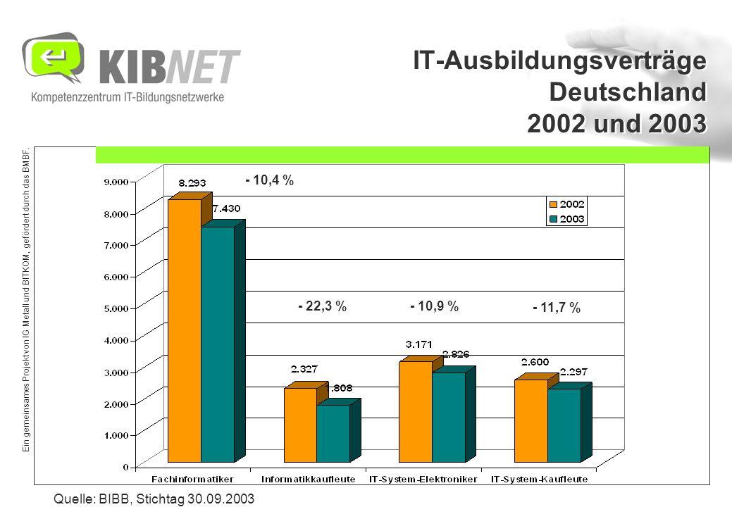 Ein gemeinsames Projekt von IG Metall und BITKOM, gefördert durch das BMBF. IT-Ausbildungsverträge Deutschland 2002 und 2003 - 10,4 % - 22,3 %- 10,9 %