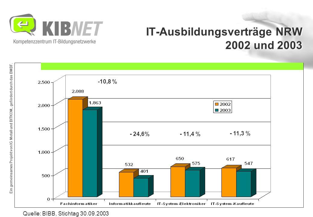 Ein gemeinsames Projekt von IG Metall und BITKOM, gefördert durch das BMBF. IT-Ausbildungsverträge NRW 2002 und 2003 Quelle: BIBB, Stichtag 30.09.2003