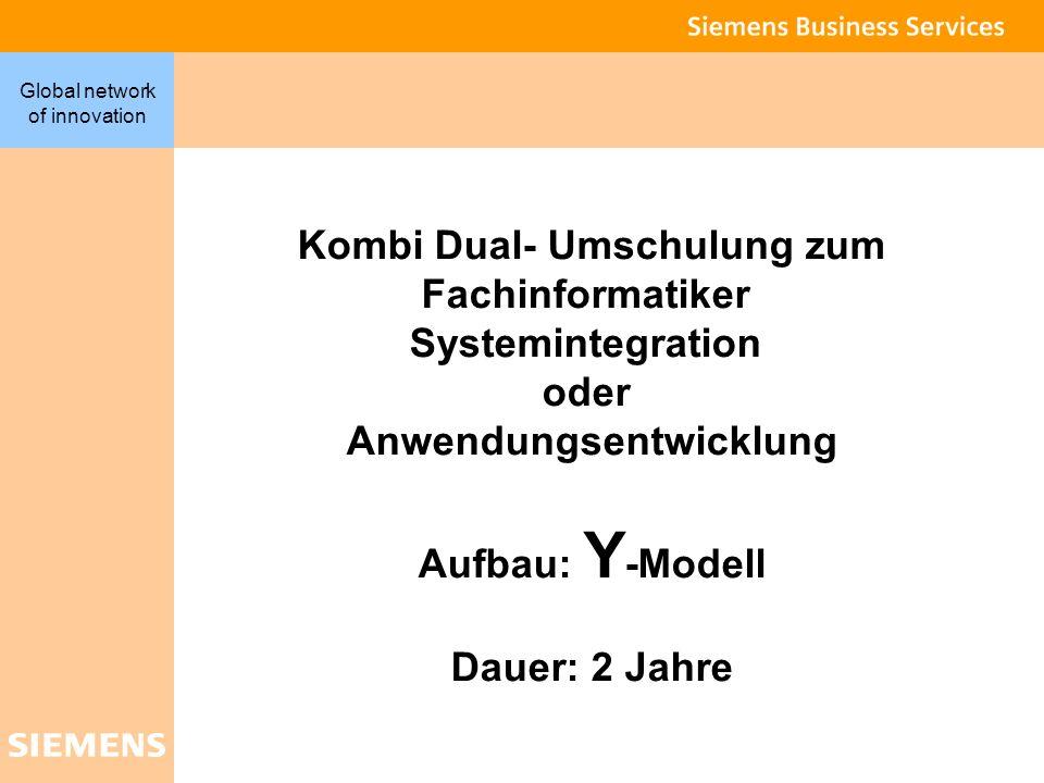 4 Global network of innovation Kombi Dual- Umschulung zum Fachinformatiker Systemintegration oder Anwendungsentwicklung Aufbau: Y -Modell Dauer: 2 Jah