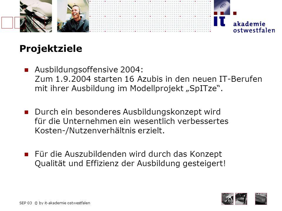 SEP 03 © by it-akademie ostwestfalen Projektziele Ausbildungsoffensive 2004: Zum 1.9.2004 starten 16 Azubis in den neuen IT-Berufen mit ihrer Ausbildung im Modellprojekt SpITze.