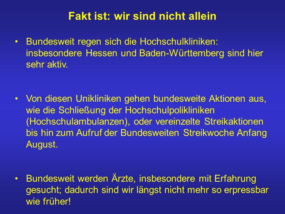 Fakt ist: wir sind nicht allein Bundesweit regen sich die Hochschulkliniken: insbesondere Hessen und Baden-Württemberg sind hier sehr aktiv. Von diese
