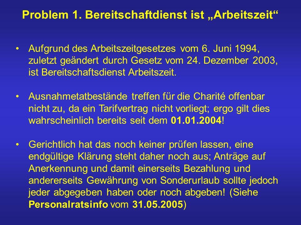Aufgrund des Arbeitszeitgesetzes vom 6. Juni 1994, zuletzt geändert durch Gesetz vom 24. Dezember 2003, ist Bereitschaftsdienst Arbeitszeit. Ausnahmet