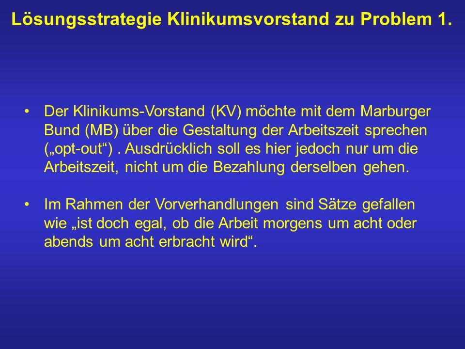 Lösungsstrategie Klinikumsvorstand zu Problem 1. Der Klinikums-Vorstand (KV) möchte mit dem Marburger Bund (MB) über die Gestaltung der Arbeitszeit sp
