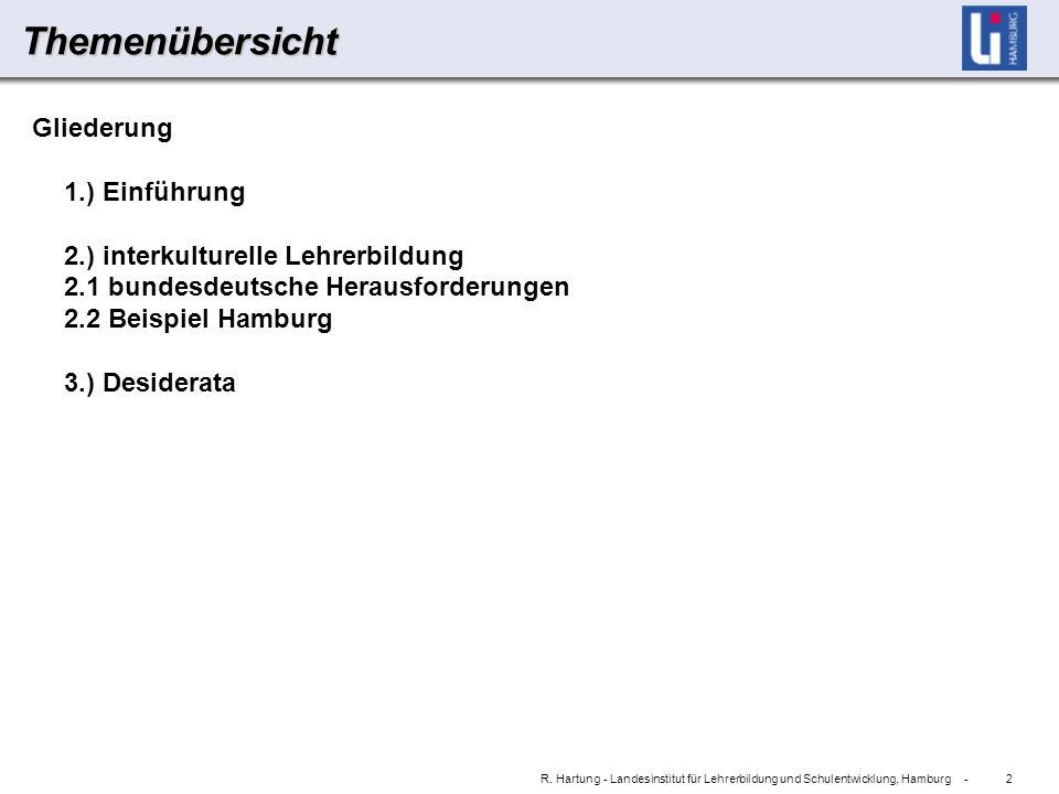 2 R. Hartung - Landesinstitut für Lehrerbildung und Schulentwicklung, Hamburg -Themenübersicht Gliederung 1.) Einführung 2.) interkulturelle Lehrerbil
