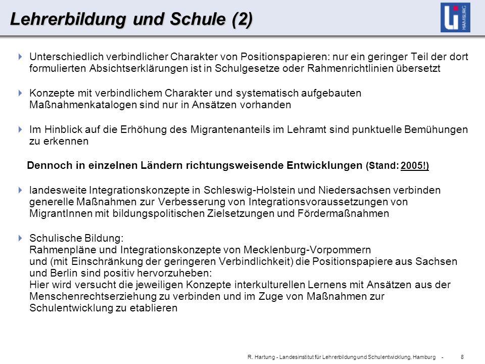 8 R. Hartung - Landesinstitut für Lehrerbildung und Schulentwicklung, Hamburg - Lehrerbildung und Schule (2) Unterschiedlich verbindlicher Charakter v