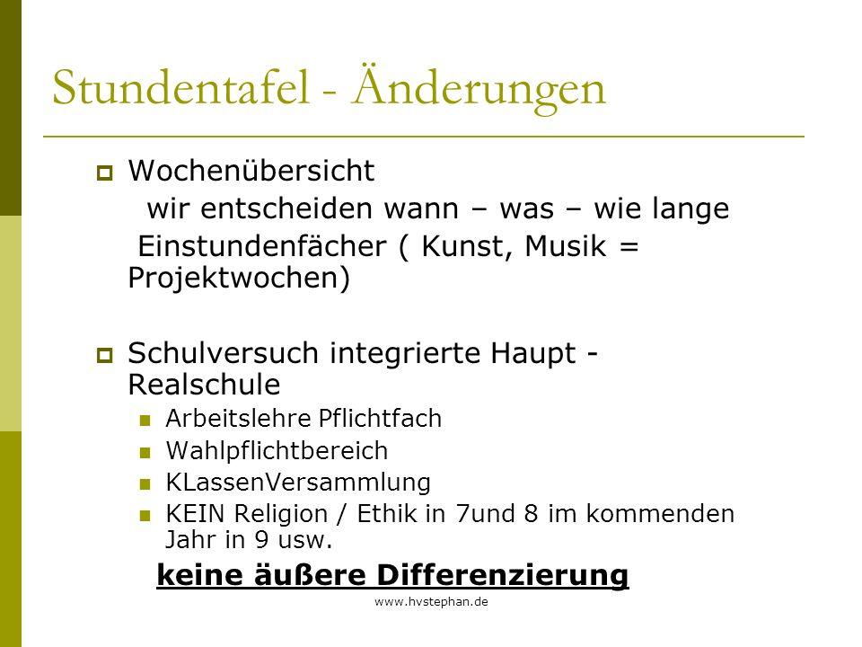 www.hvstephan.de Stundentafel - Änderungen Wochenübersicht wir entscheiden wann – was – wie lange Einstundenfächer ( Kunst, Musik = Projektwochen) Sch