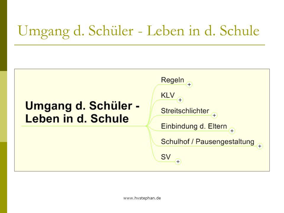 www.hvstephan.de Umgang d. Schüler - Leben in d. Schule