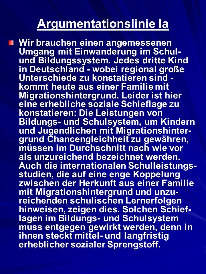 Argumentationslinie Ia Wir brauchen einen angemessenen Umgang mit Einwanderung im Schul- und Bildungssystem. Jedes dritte Kind in Deutschland - wobei
