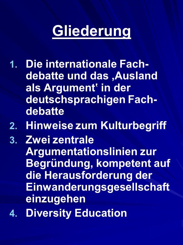 Gliederung 1. 1. Die internationale Fach- debatte und das Ausland als Argument in der deutschsprachigen Fach- debatte 2. 2. Hinweise zum Kulturbegriff