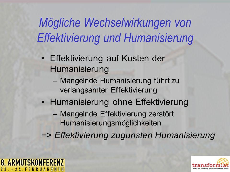 Mögliche Wechselwirkungen von Effektivierung und Humanisierung Effektivierung auf Kosten der Humanisierung –Mangelnde Humanisierung führt zu verlangsamter Effektivierung Humanisierung ohne Effektivierung –Mangelnde Effektivierung zerstört Humanisierungsmöglichkeiten => Effektivierung zugunsten Humanisierung