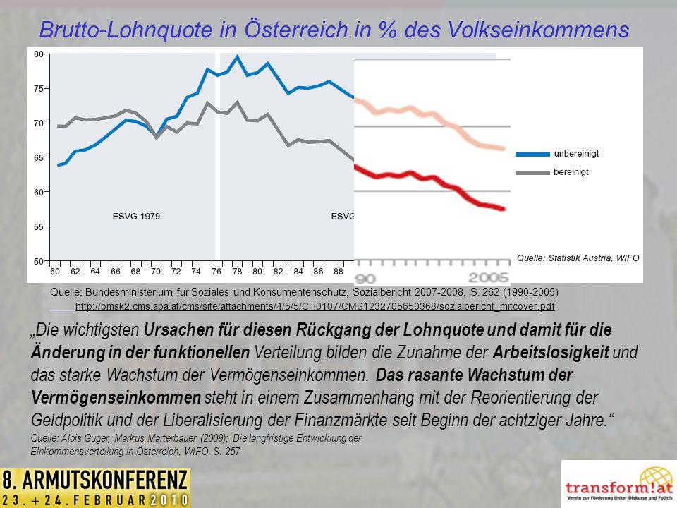 Brutto-Lohnquote in Österreich in % des Volkseinkommens Quelle: Bundesministerium für Soziales und Konsumentenschutz, Sozialbericht 2007-2008, S.