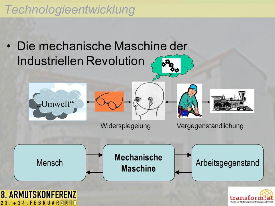 Technologieentwicklung Umwelt §~+ * Die mechanische Maschine der Industriellen Revolution MenschWerkzeugArbeitsgegenstandMensch Mechanische Maschine Arbeitsgegenstand WiderspiegelungVergegenständlichung