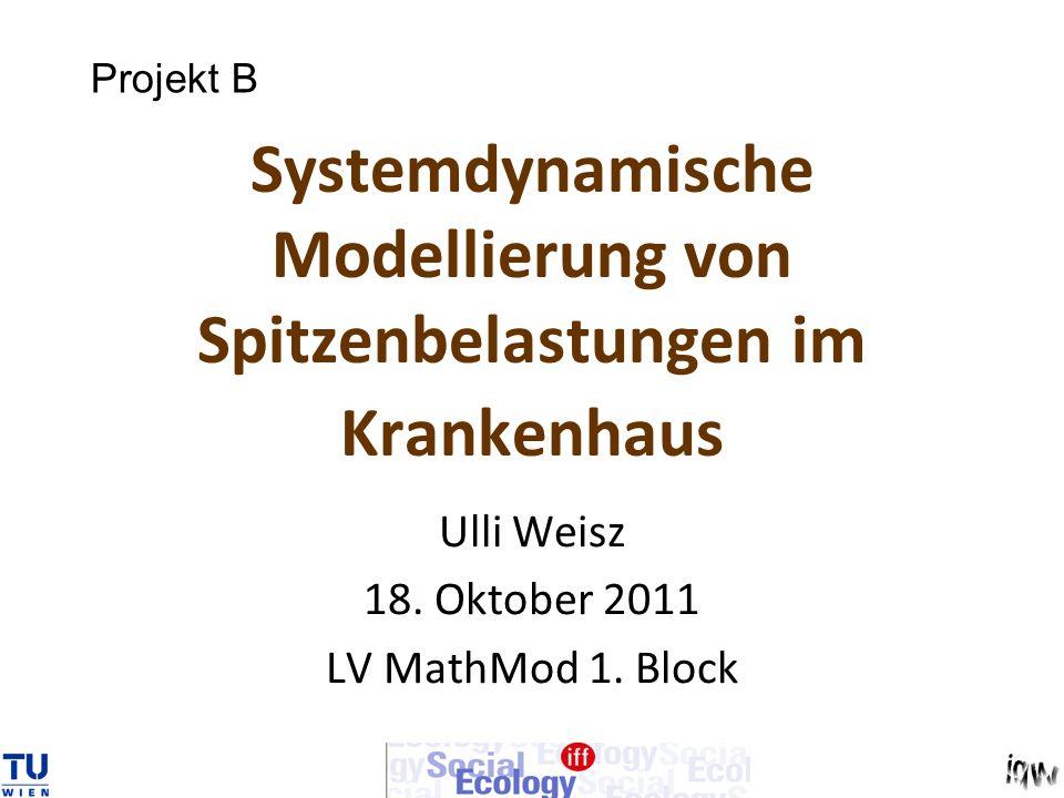 Systemdynamische Modellierung von Spitzenbelastungen im Krankenhaus Ulli Weisz 18. Oktober 2011 LV MathMod 1. Block Projekt B