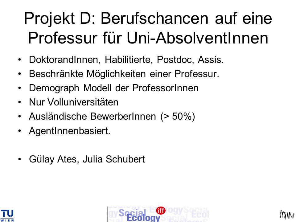 Projekt D: Berufschancen auf eine Professur für Uni-AbsolventInnen DoktorandInnen, Habilitierte, Postdoc, Assis. Beschränkte Möglichkeiten einer Profe